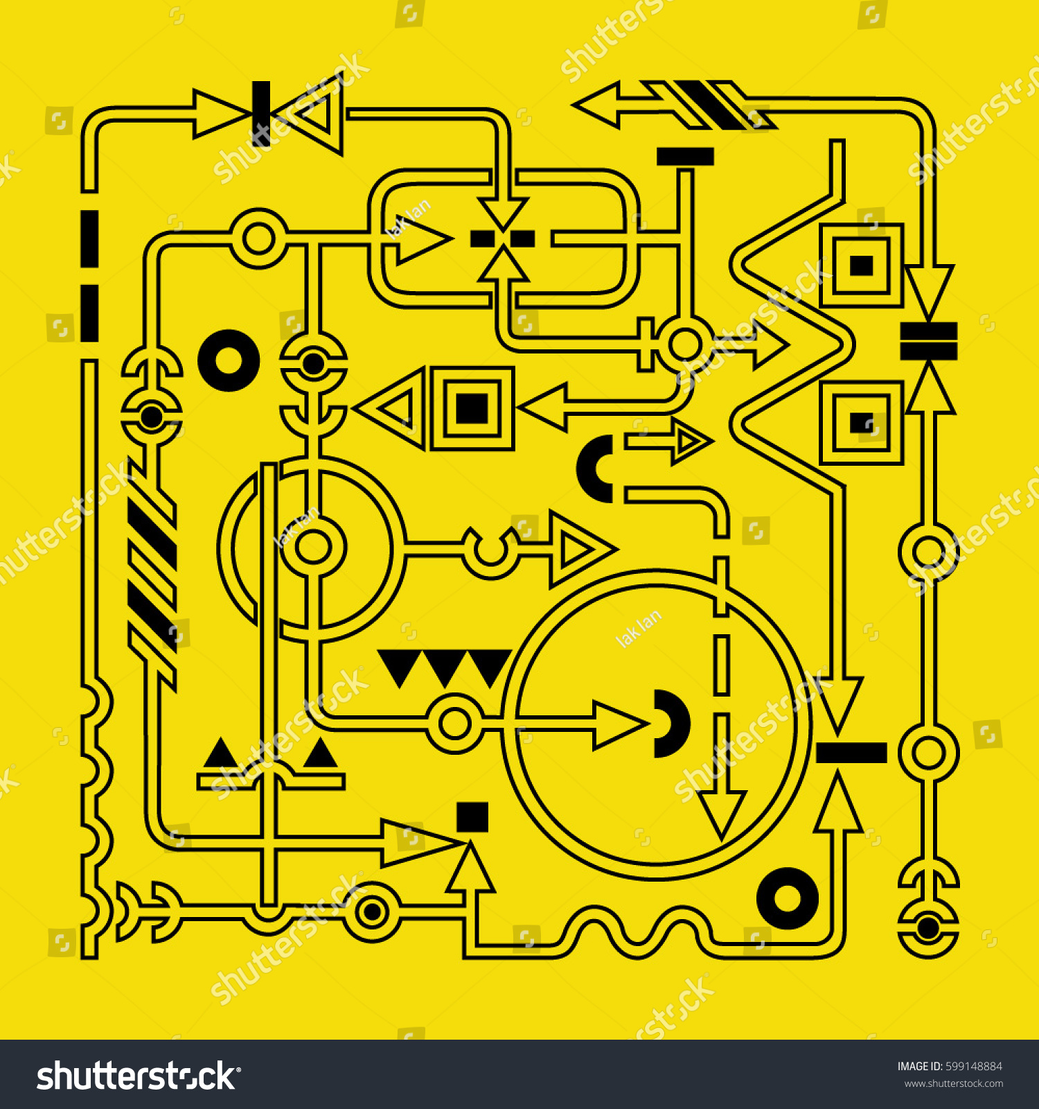 Drawing Electric Circuits Abstract Circuit Fancy Technology Vector Stock On A Yellow Background