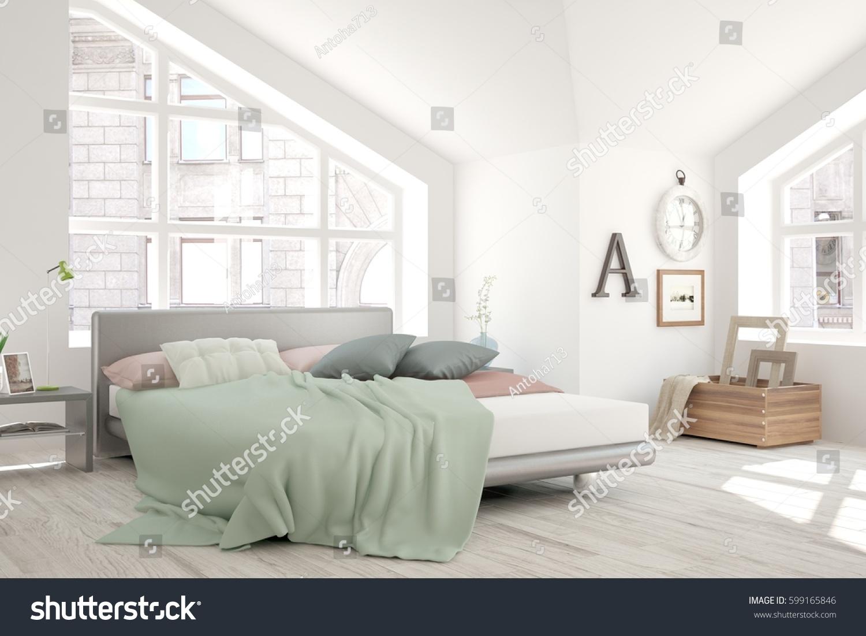 White Bedroom Urban Landscape Window Scandinavian Stock