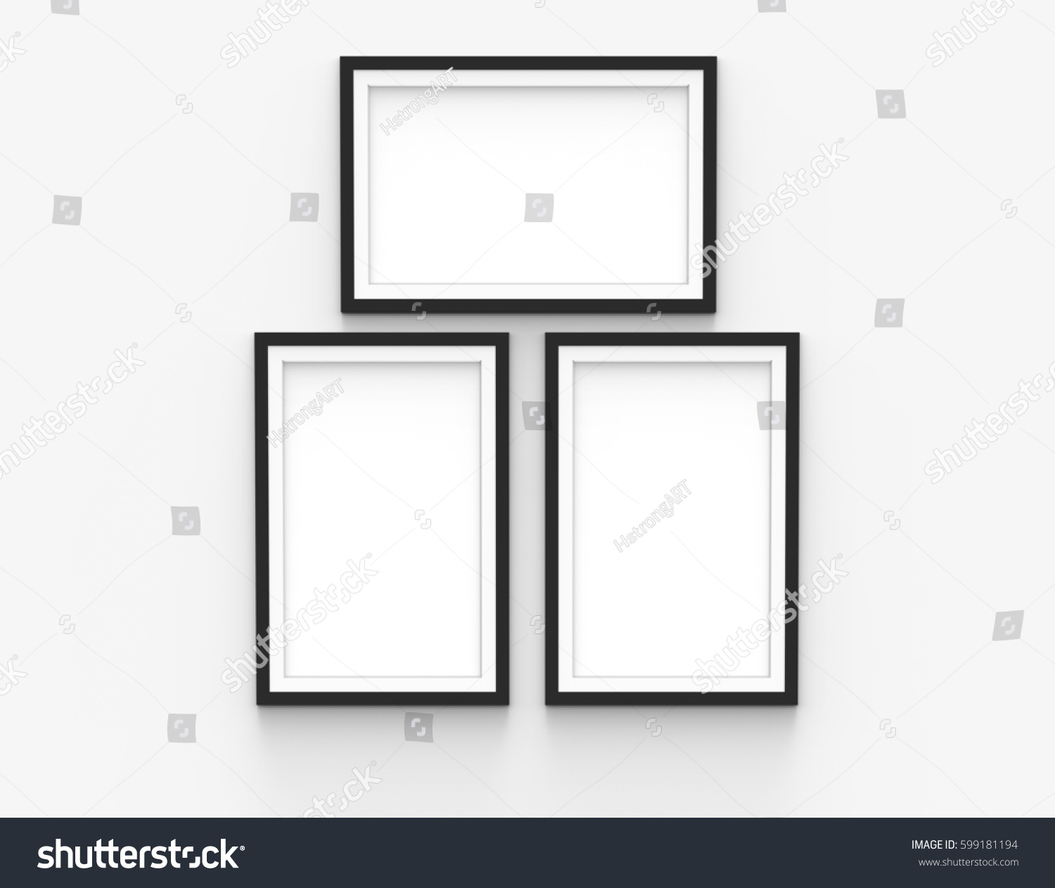 Three Blank Picture Frames Template Set Stock Illustration 599181194 ...