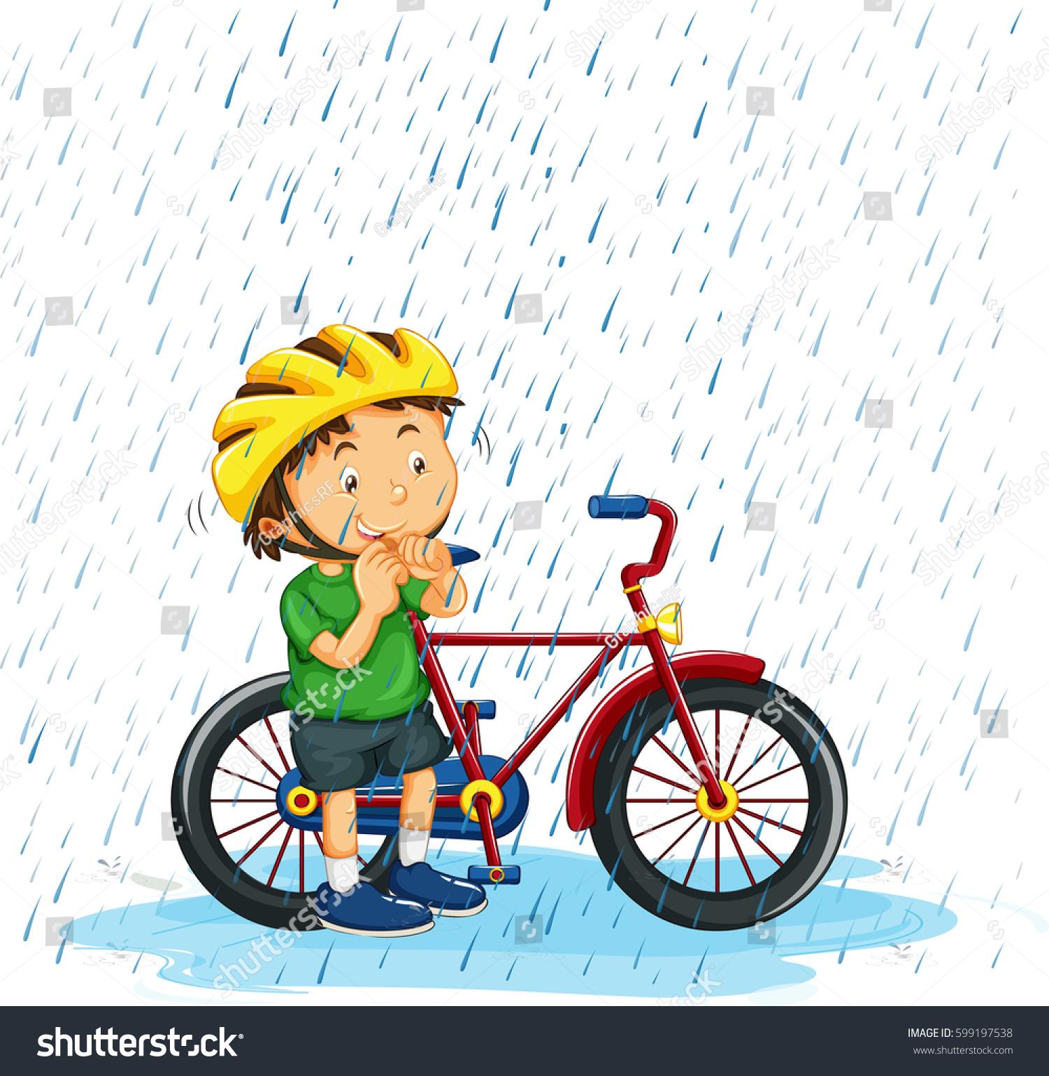 Boy Riding Bike Rain Illustration Stock Vector 599197538