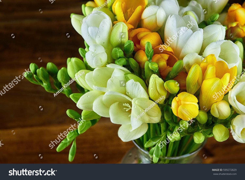 Yellow White Freesia Flowers Glass Vase Stock Photo Edit Now
