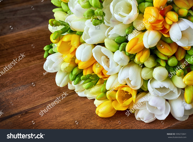 Yellow White Freesia Flowers On Wooden Stock Photo Royalty Free
