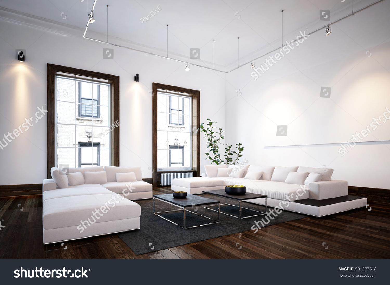 Spacious Living Room Interior Modern Urban Stock Illustration ...