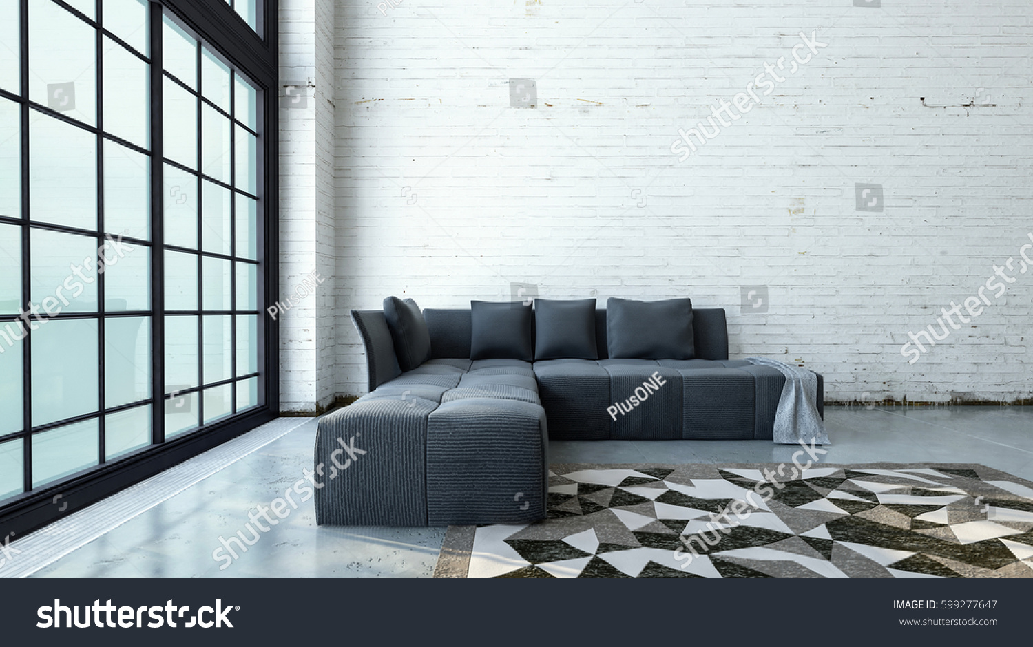 Minimalist Modern Loft Living Room Interior With Huge Windows And A Modular Grey Settee On