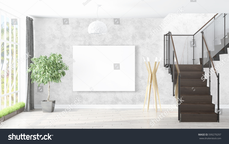 Modern Bright Interior Empty Frame 3d Stock Illustration