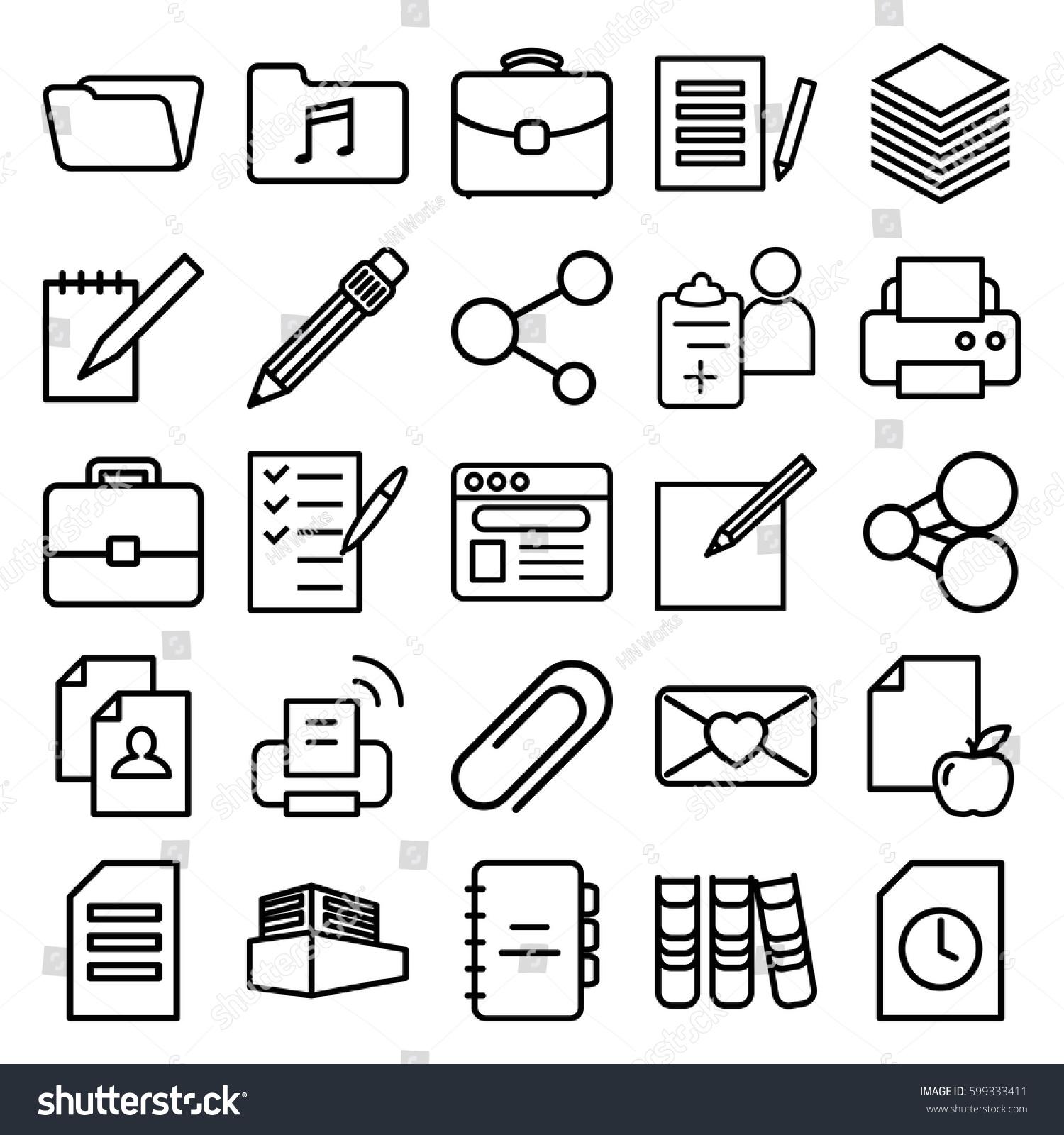 document icons set set 25 document stock vector 599333411