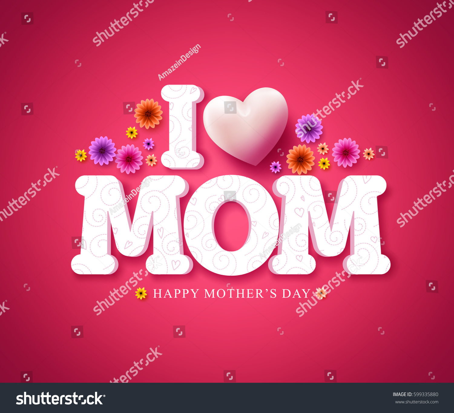 Love Mom Text Greeting Card 3 D Stock Vector 2018 599335880