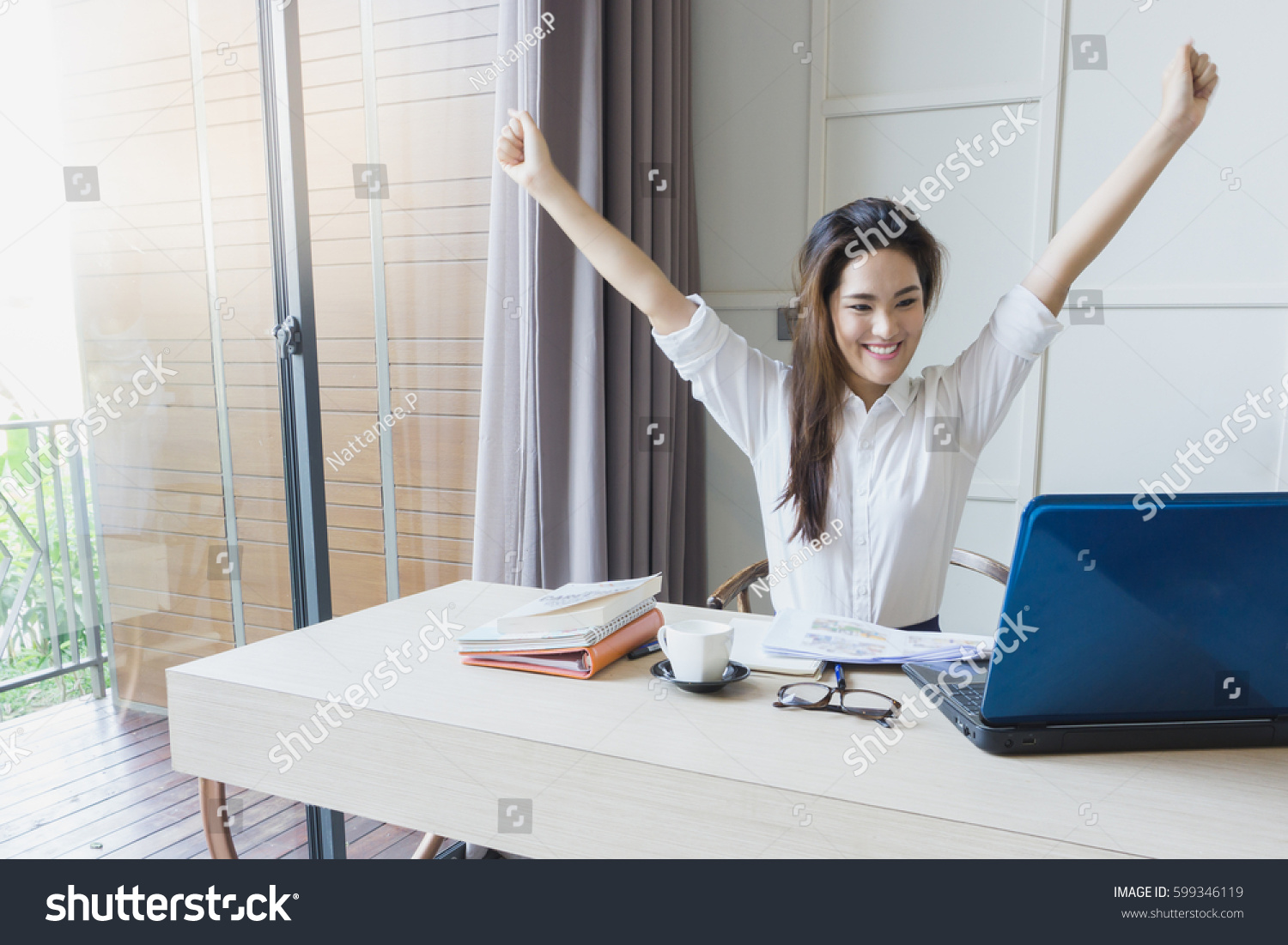 Successful Asian Business Woman Happy Her Stock Photo ...