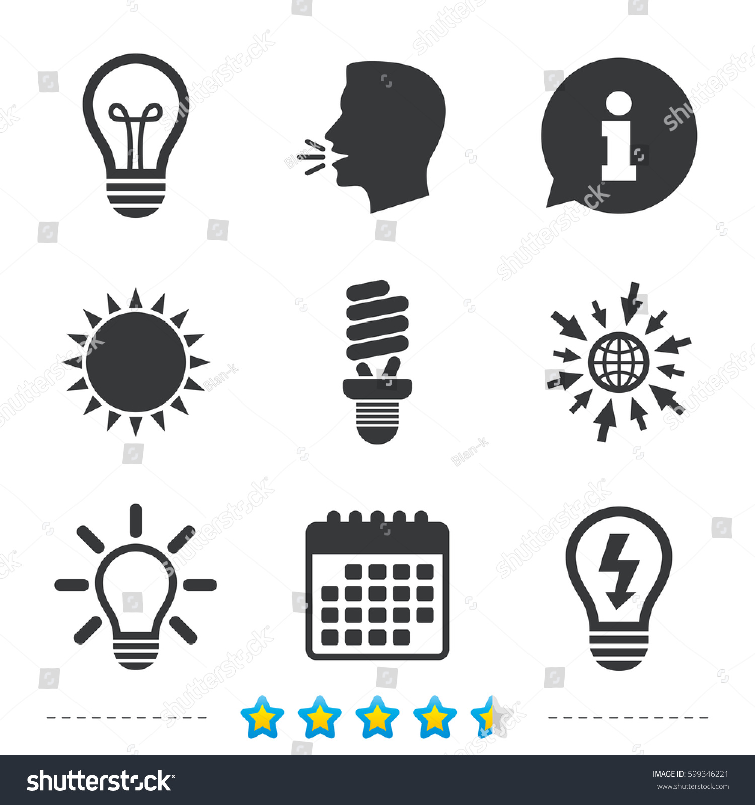 Light Lamp Icons Fluorescent Lamp Bulb Stock Vector 599346221