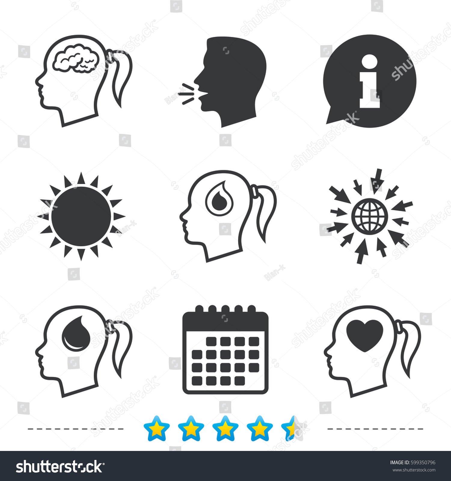 Head brain icon female woman think stock vector 599350796 female woman think symbols blood drop donation signs love biocorpaavc