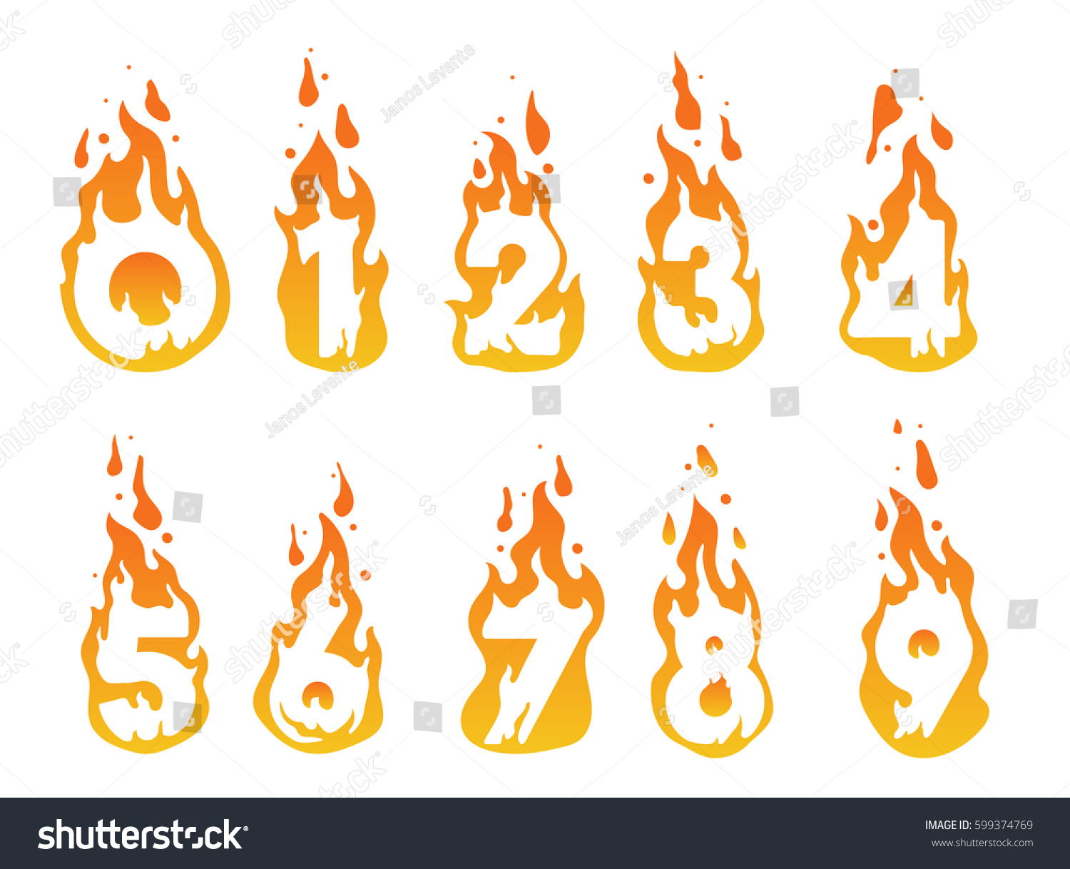 illustration burning numbers fire number 1 stock vector 599374769