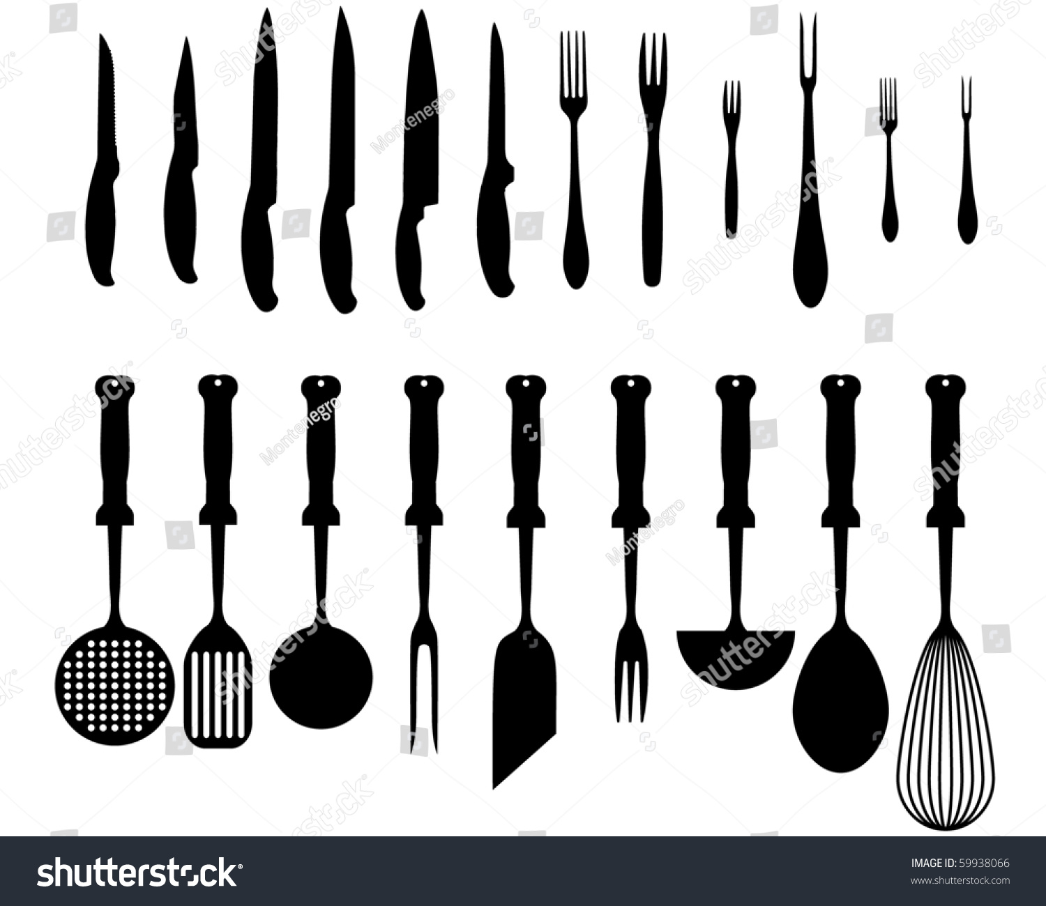 Kitchen Accessories Silhouettes Kitchen Accessories Various Types Knives Stock Vector