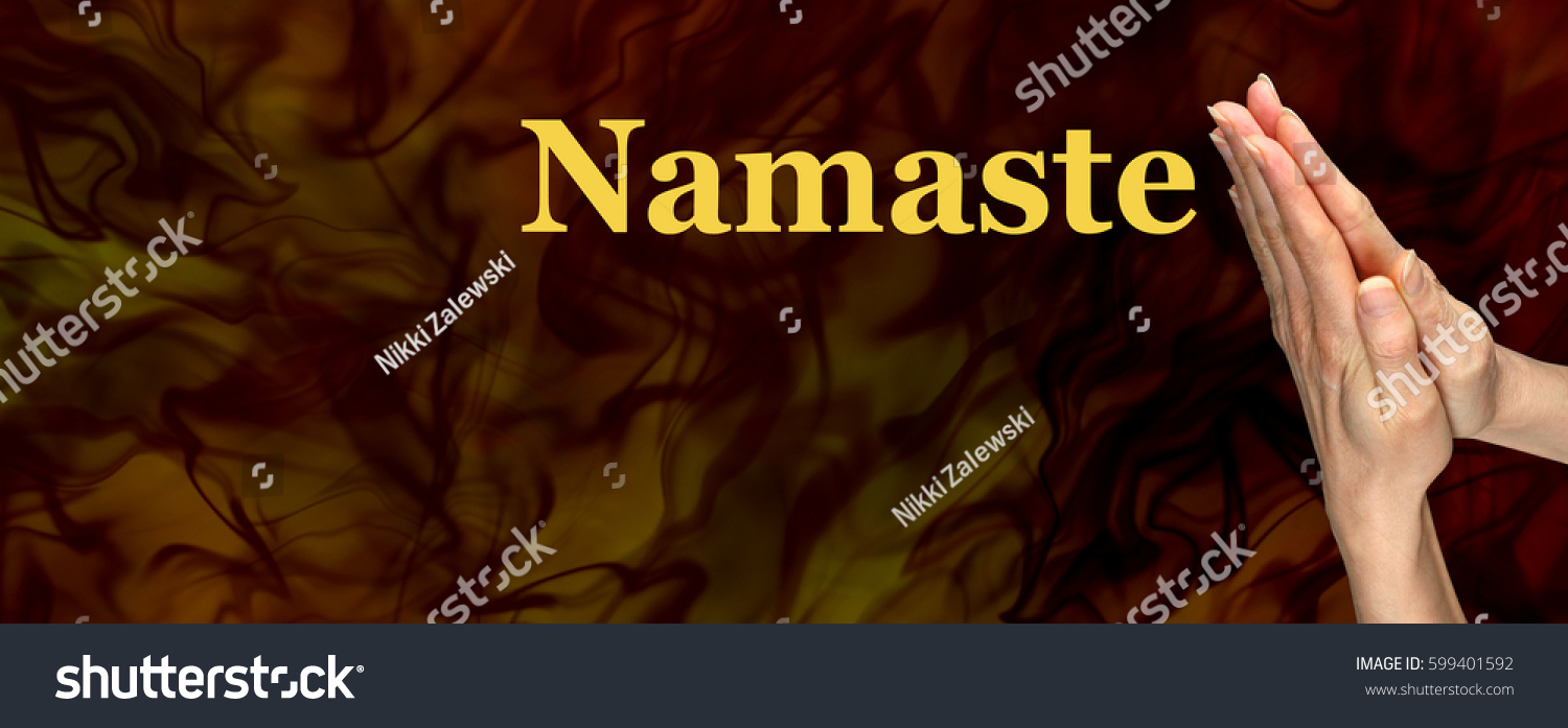 Namaste greeting website header female hands stock photo 599401592 namaste greeting website header female hands in prayer position with the word namaste floating to kristyandbryce Image collections