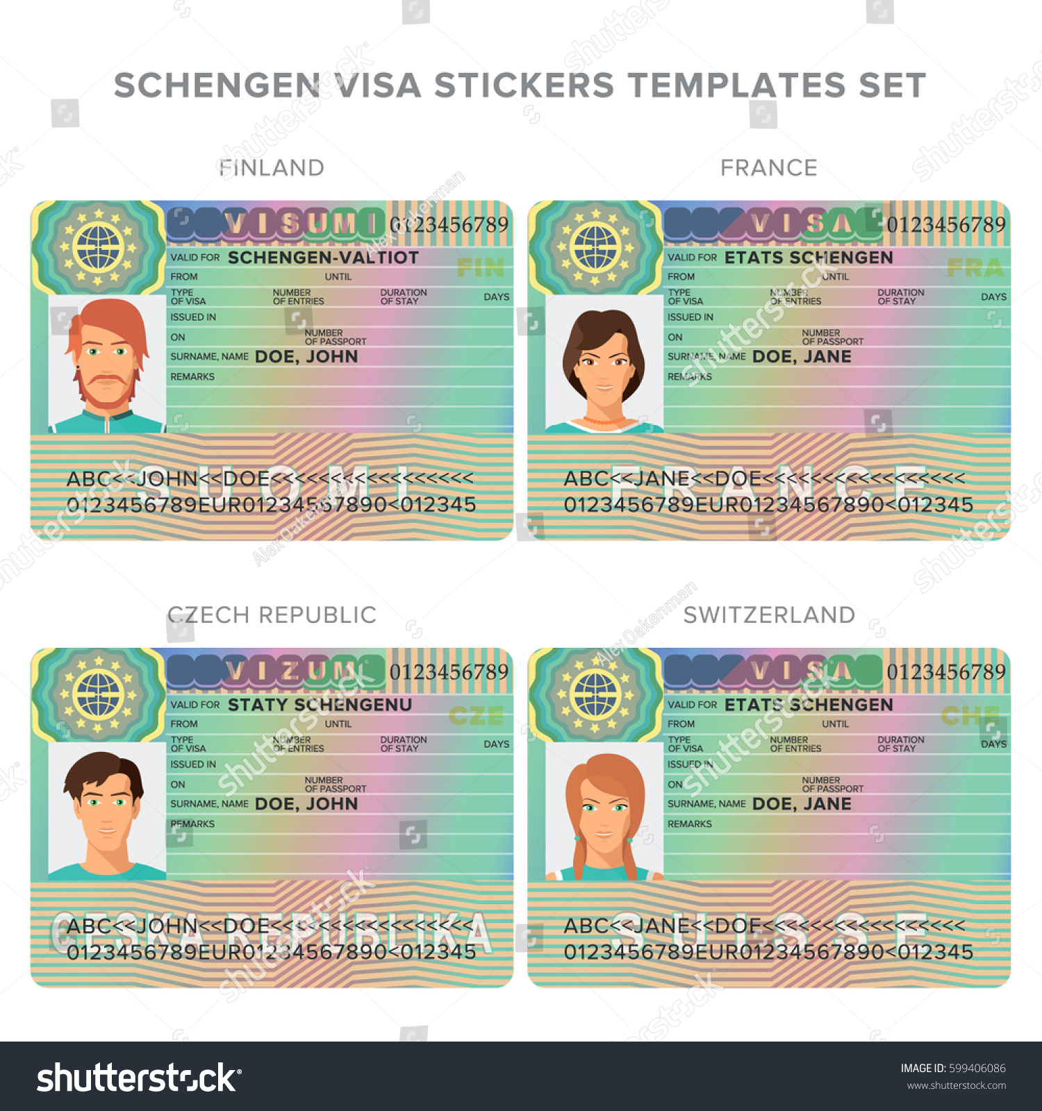 Schengen Visa Passport Sticker Templates For Finland, France, Czech  Republic, Switzerland Set.