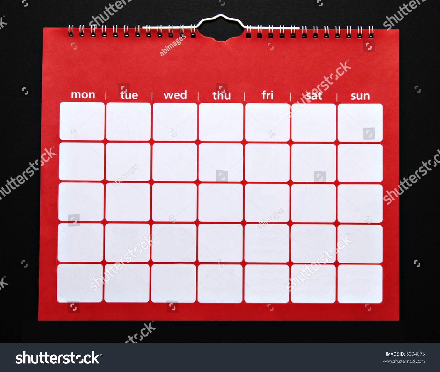 Calendar Red : Plain red monthly calendar add your own numbers stock
