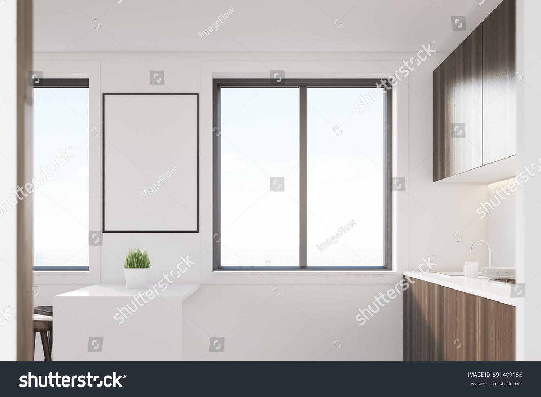 Side View Dark Wood Kitchen Interior Stock Illustration 599409155 ...