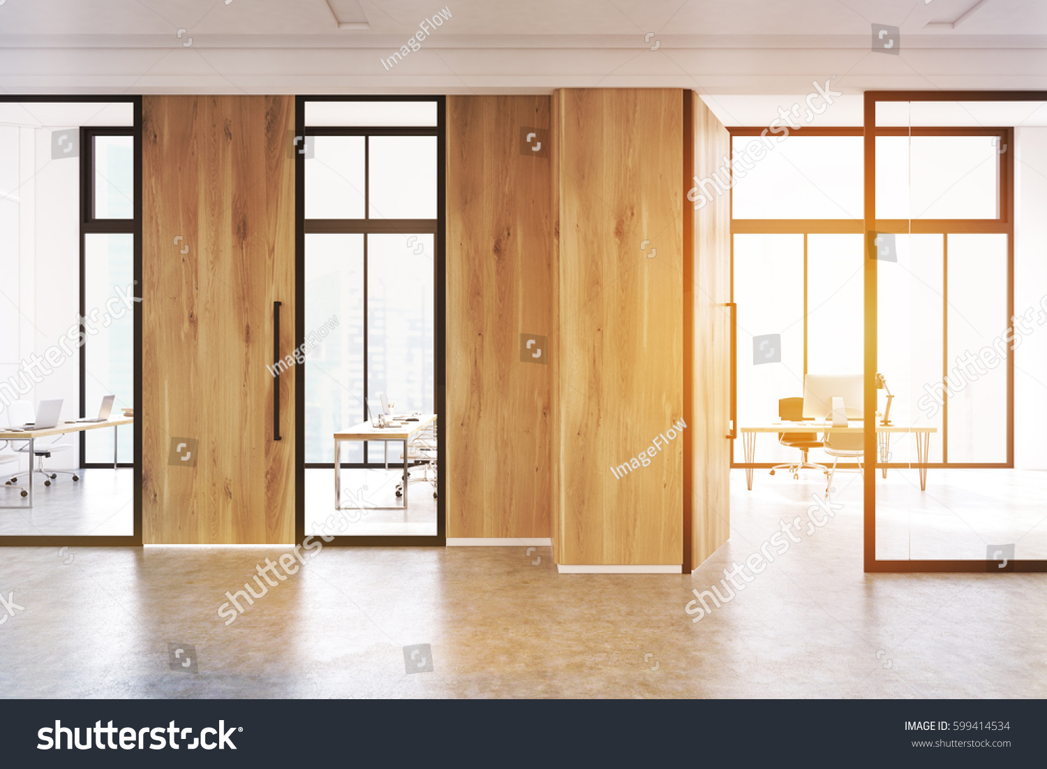 modern office door. Modern Office Lobby Interior With A Meeting Room Glass Walls. There Is Wooden Door