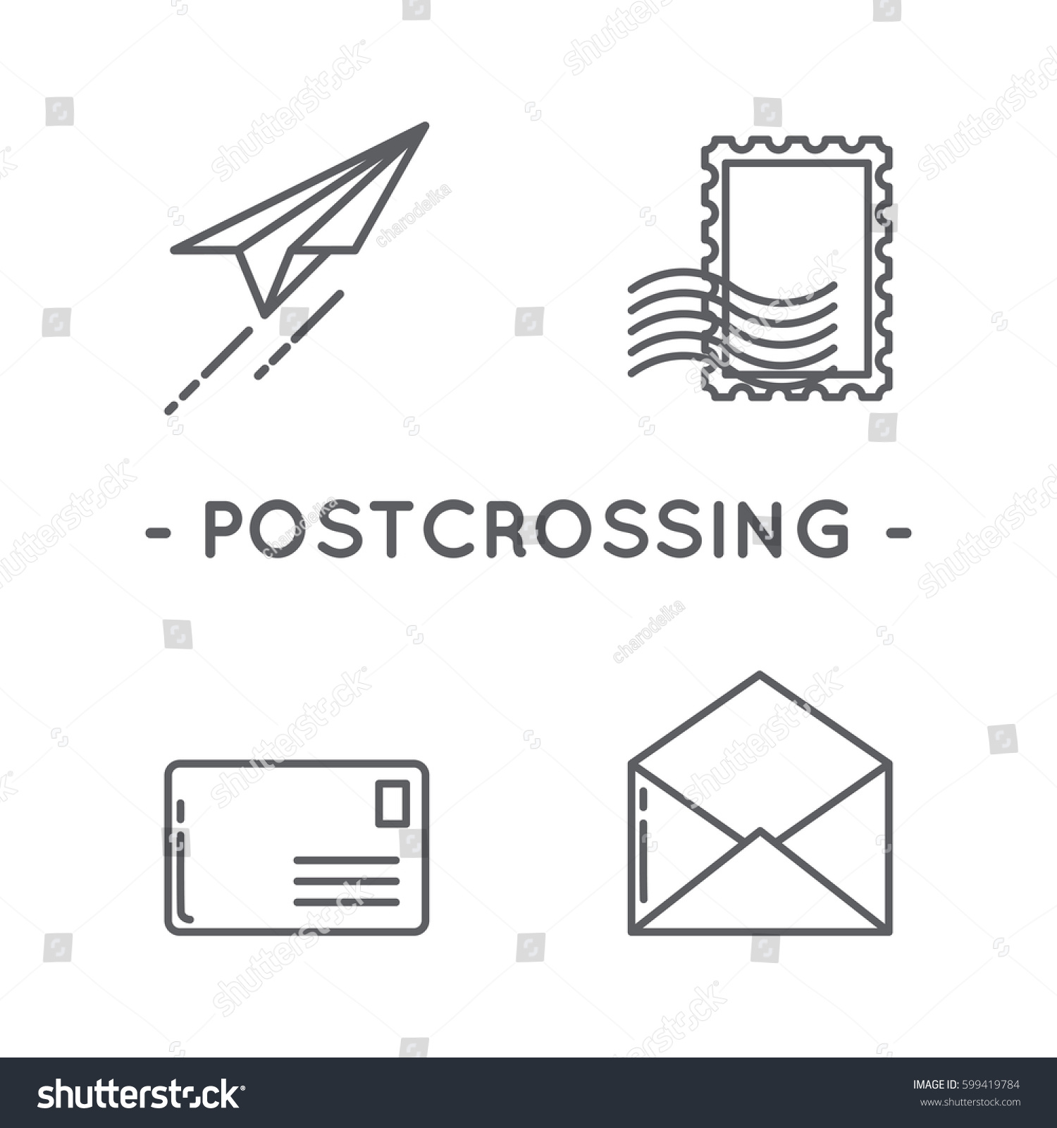 Line Black Postage Stamp Icon Set