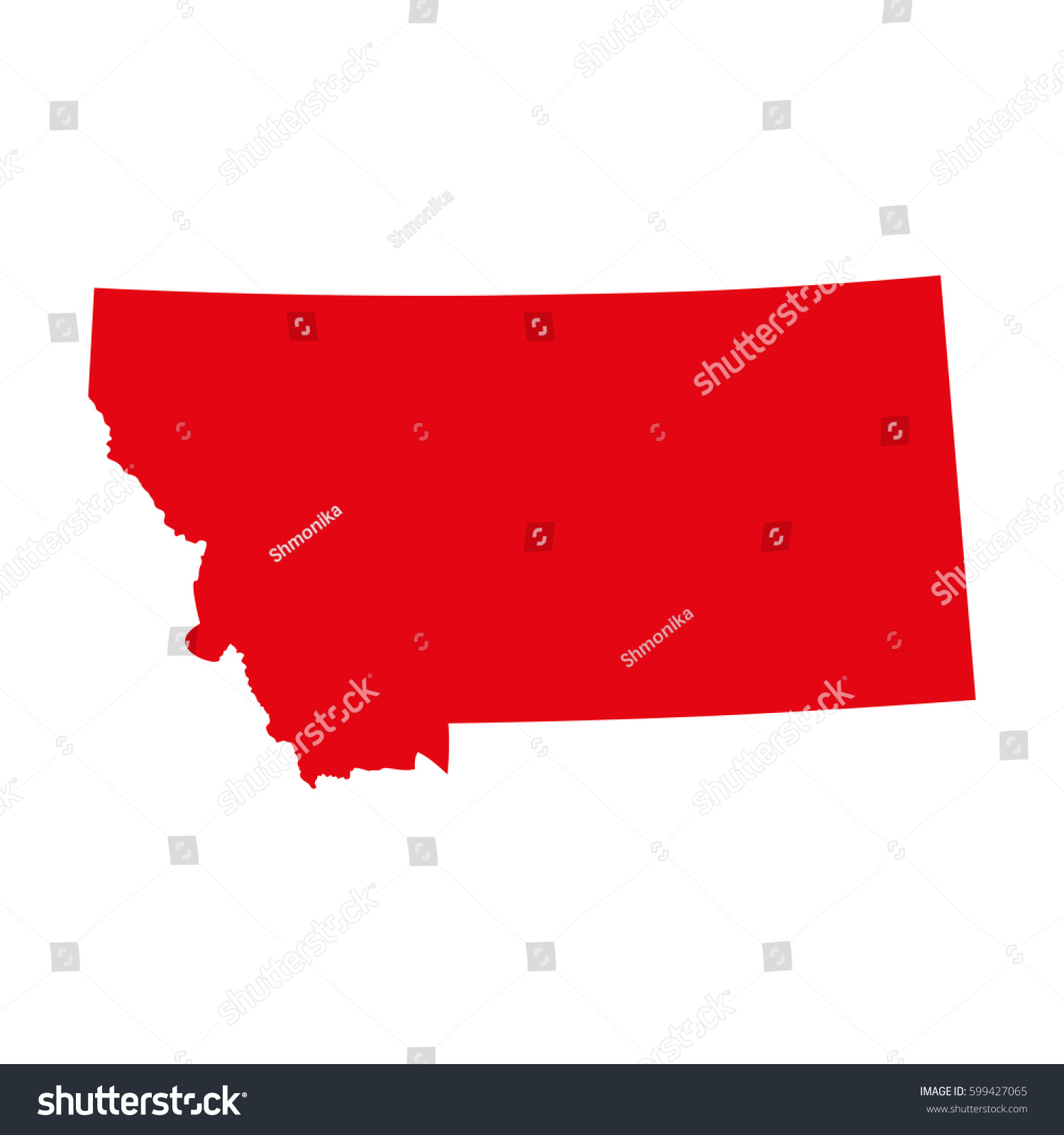 Map Us State Montana Stock Vector Royalty Free 599427065