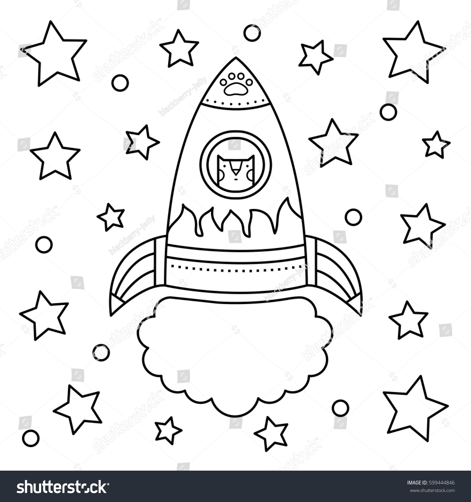 Vector Illustration Rocket Coloring Page Stock Vector (Royalty Free ...