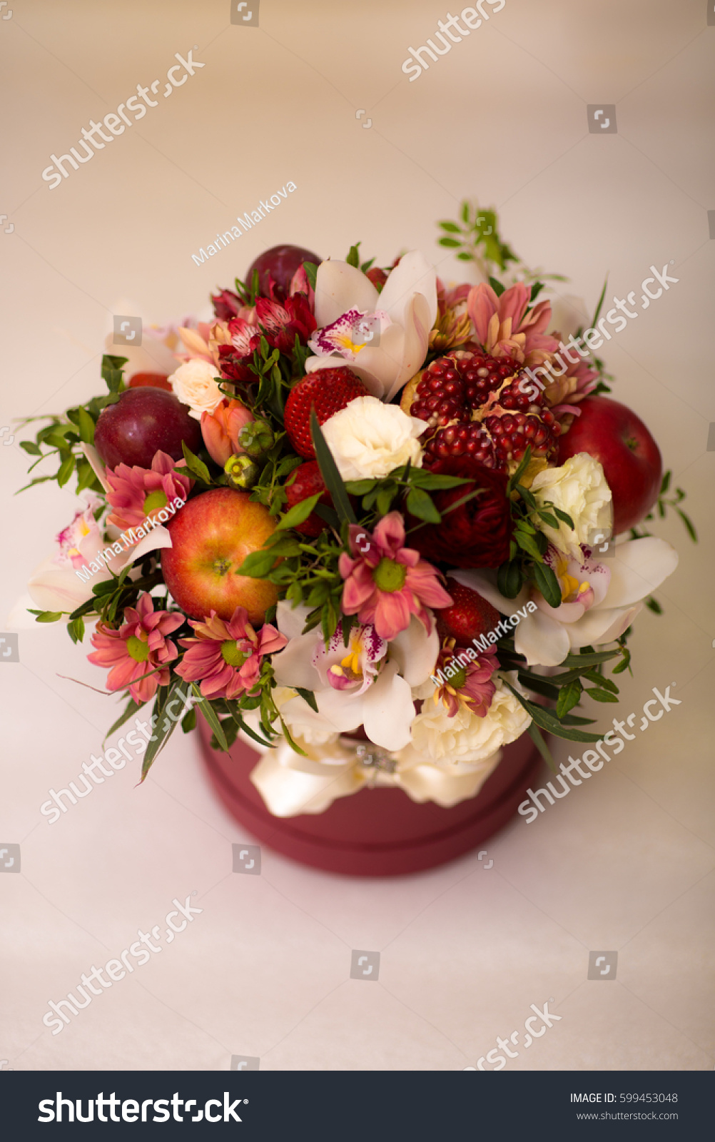 Apple Strawberry Pomegranate Flowers Bouquet Stock Photo Edit Now 599453048