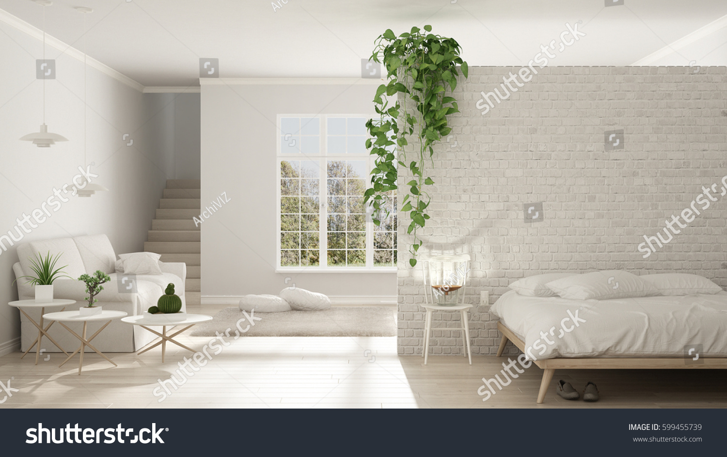 Scandinavian White Minimalist Living Bedroom Open Stock