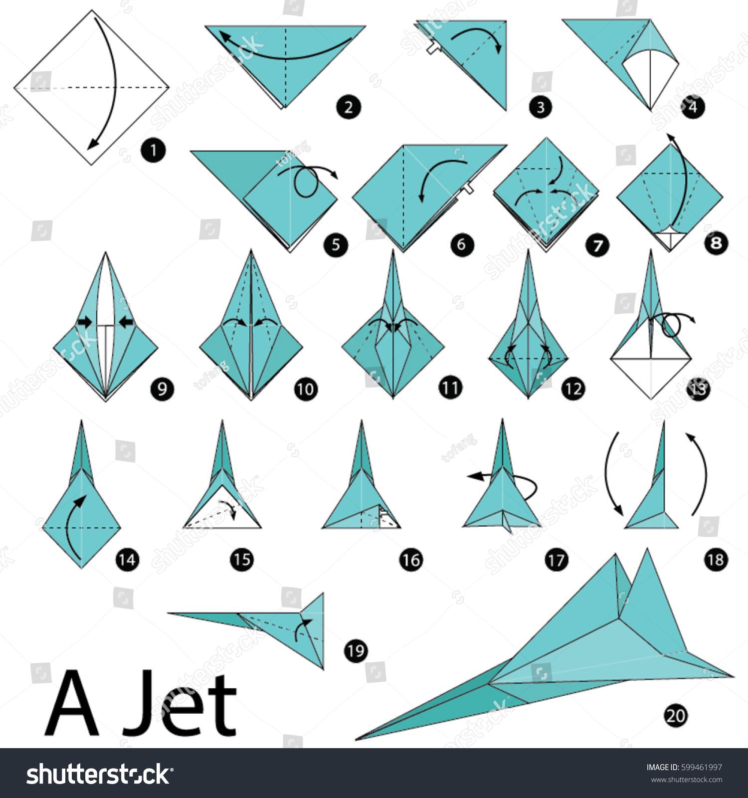 Step by step instructions how make stock vector 599461997 step by step instructions how to make a origami jet jeuxipadfo Choice Image