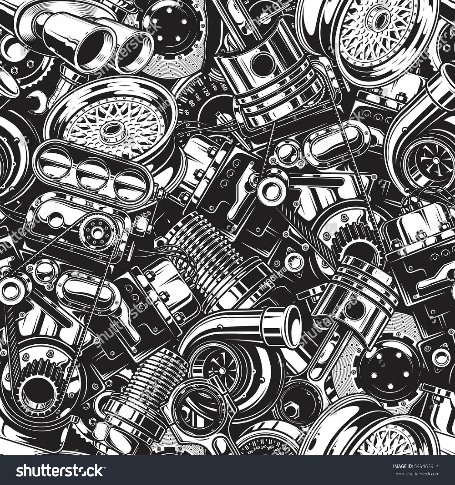 Car Engine Wallpaper: Automobile Car Parts Seamless Pattern Monochrome Stock