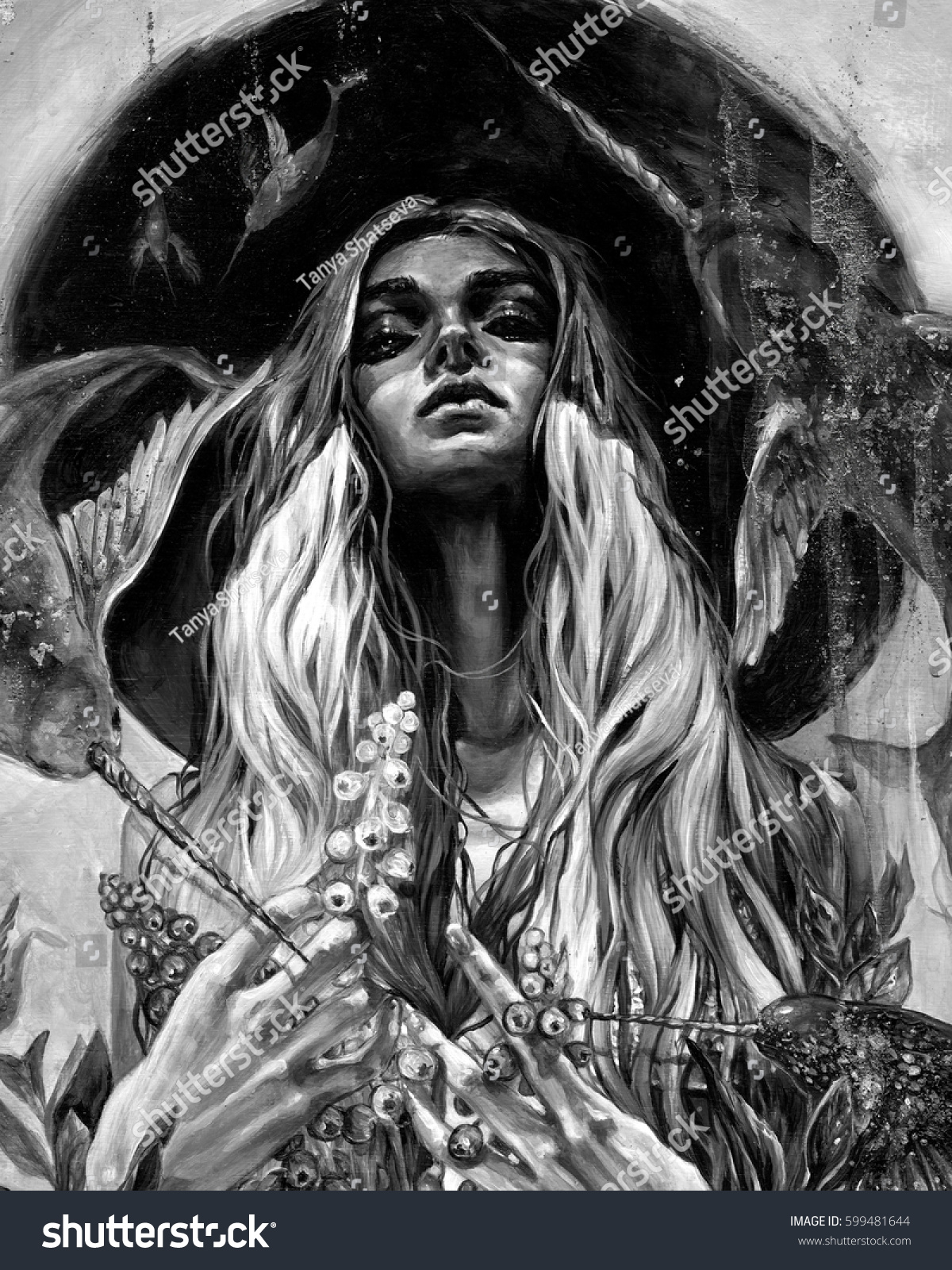 Black and white surreal psychedelic acrylic portrait of a pretty woman with long hair in black