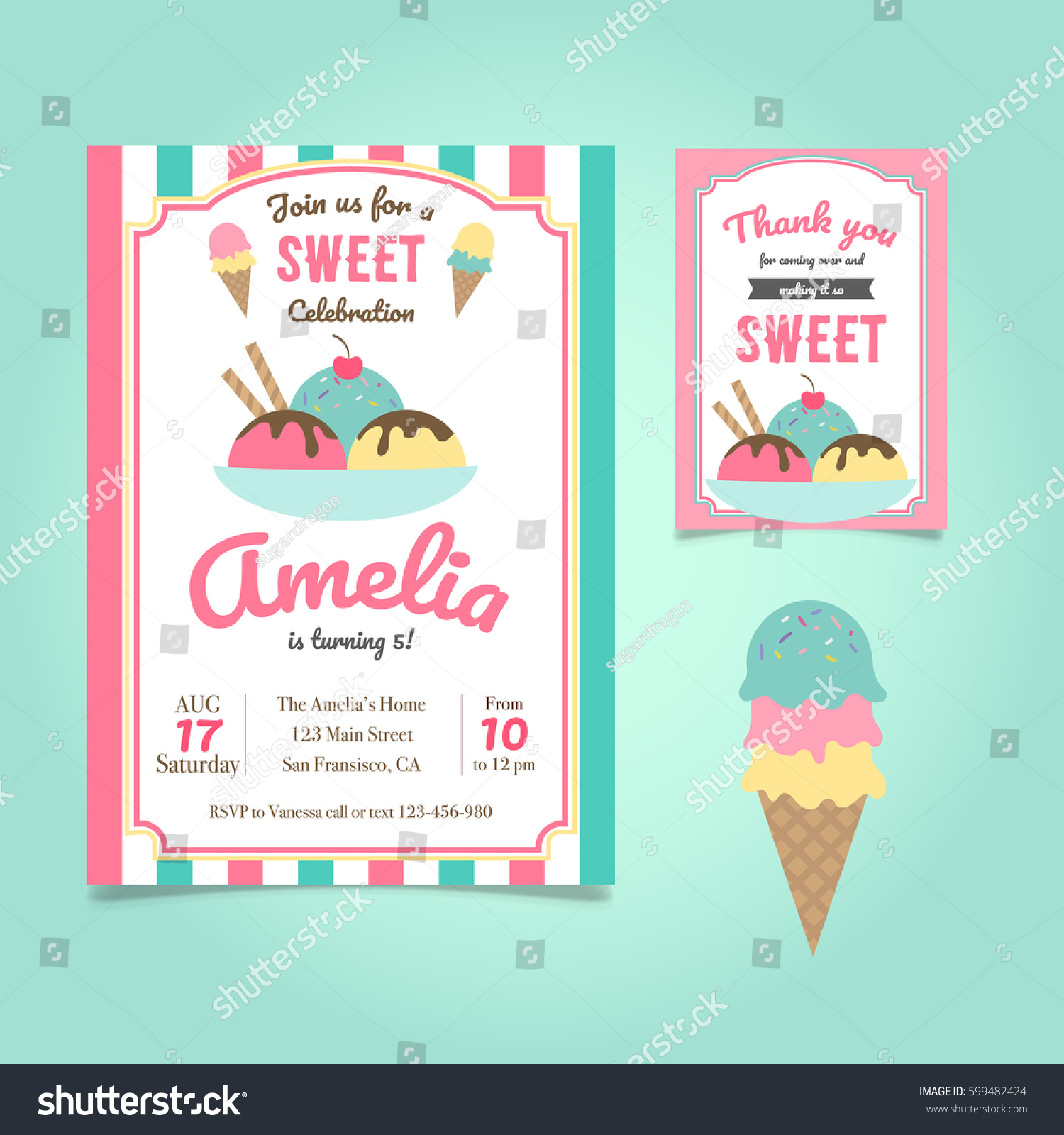 Ice Cream Party Birthday Invitation Template Stock Vector 599482424 ...