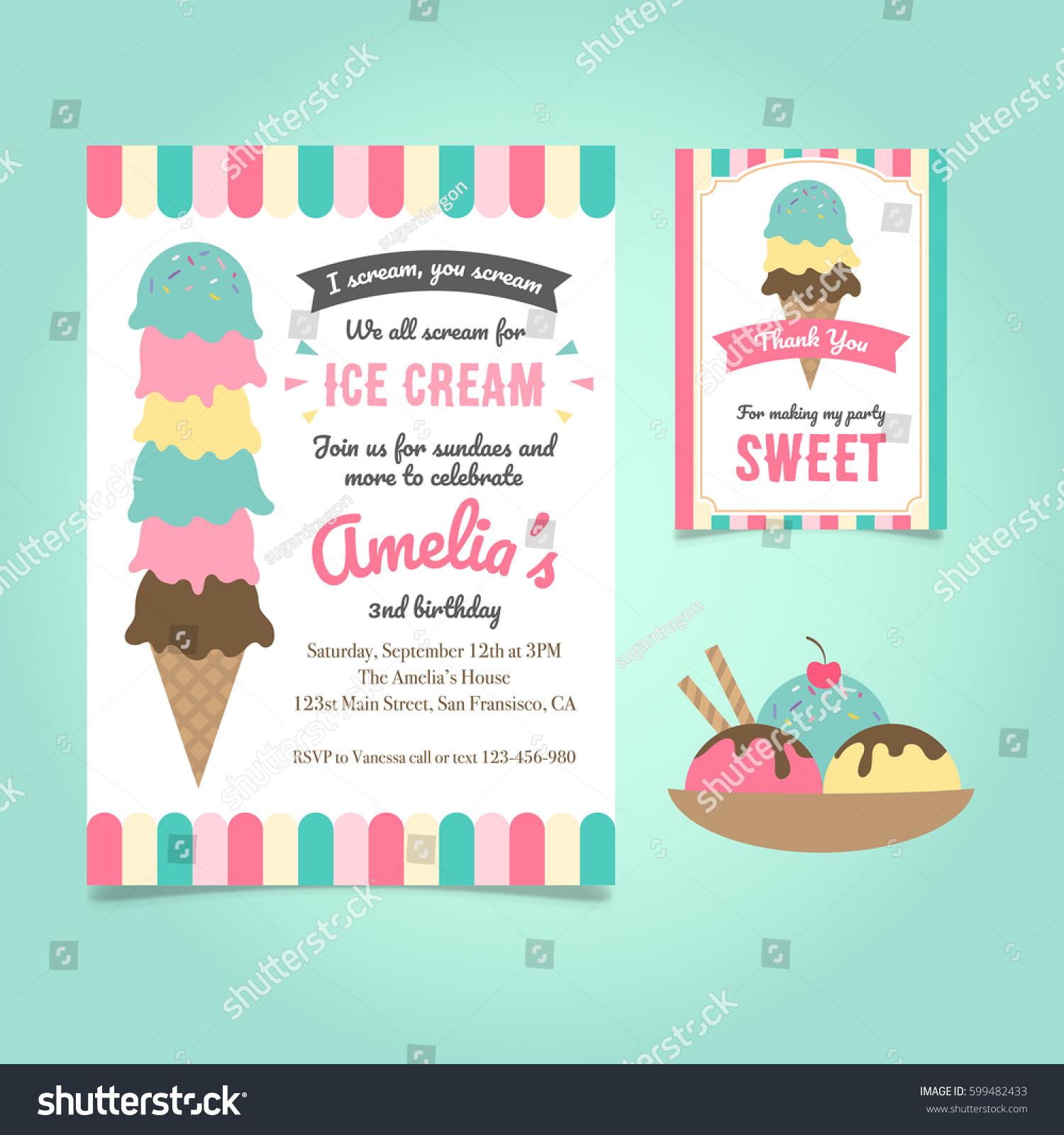 Ice Cream Party Birthday Invitation Template Stock Vector - Dessert party invitation template