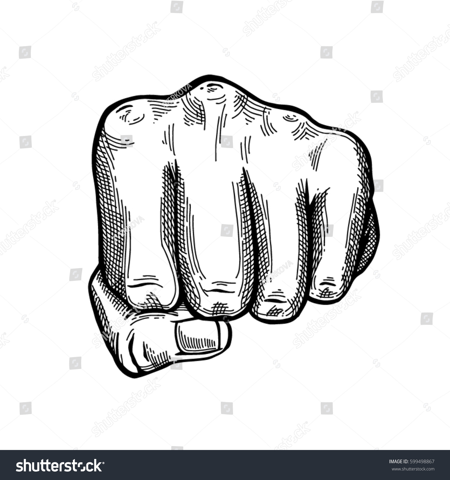 Hand Gesture Sketch Fist Sign Punch Stock Vector 599498867 ...