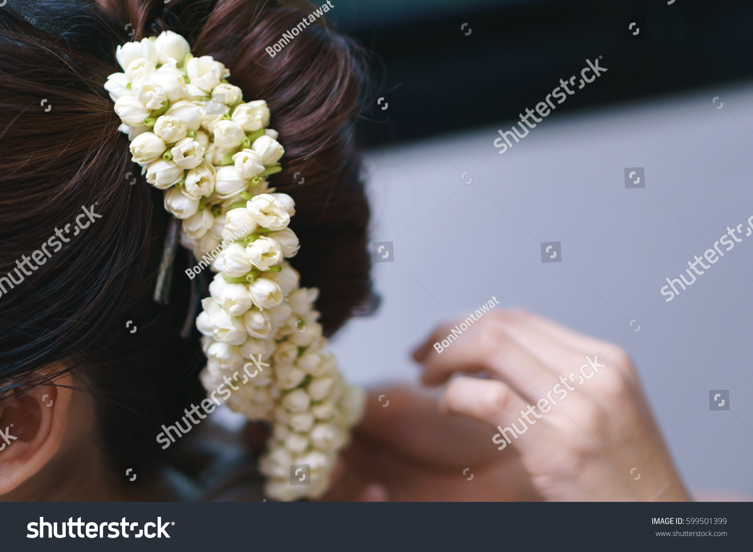 Hair decoration by jasmine flower pin stock photo edit now hair decoration by jasmine flower pin thai classical hair arrangement normally use in ceremonies like izmirmasajfo