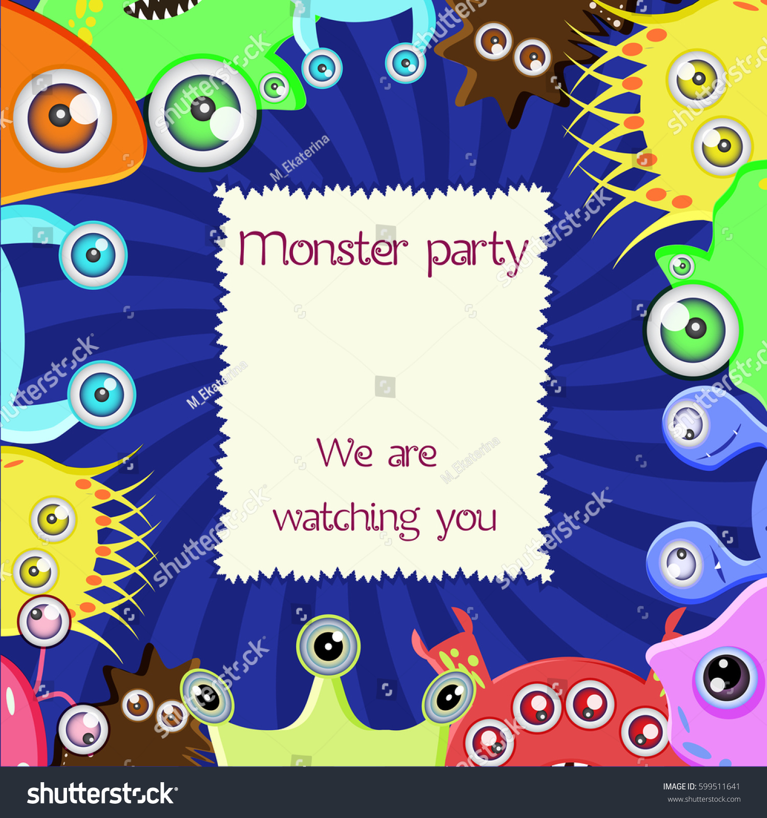 Monster Party Card Cartoon Eyed Monsters Stock Vector