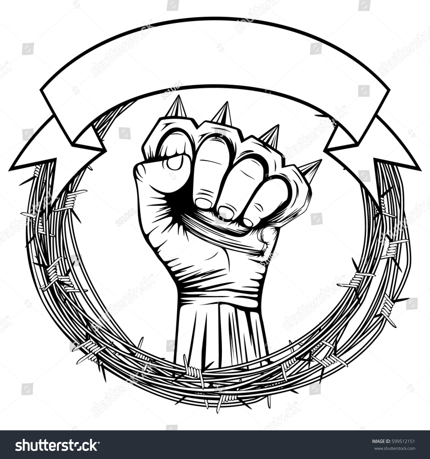 Vector Illustration Barbed Wire Hand Brass Stock Vector 599512151 ...