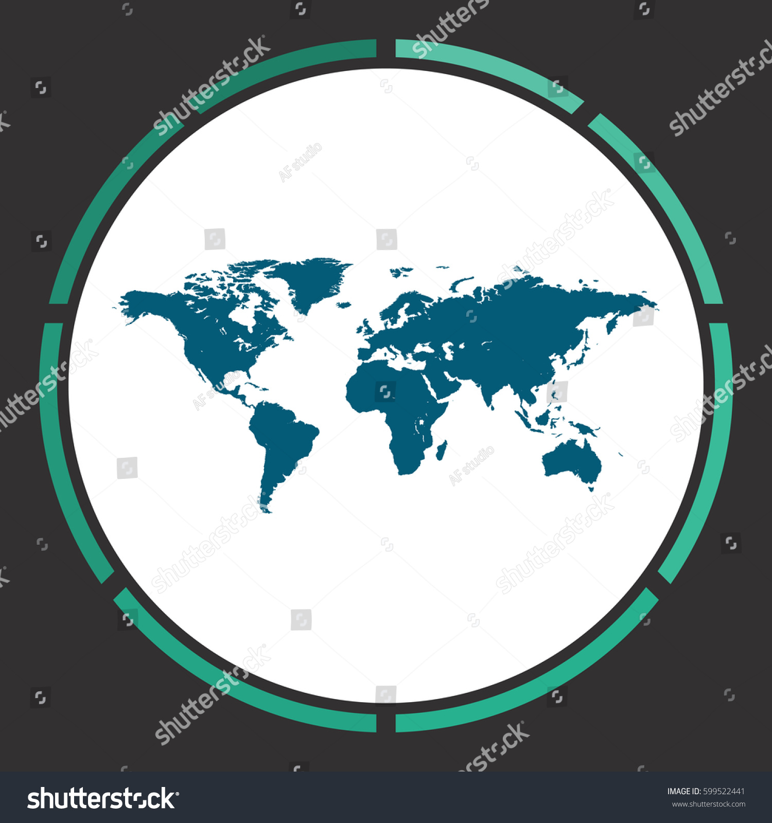 World map icon vector flat simple vectores en stock 599522441 world map icon vector flat simple blue pictogram in a circle illustration symbol gumiabroncs Gallery