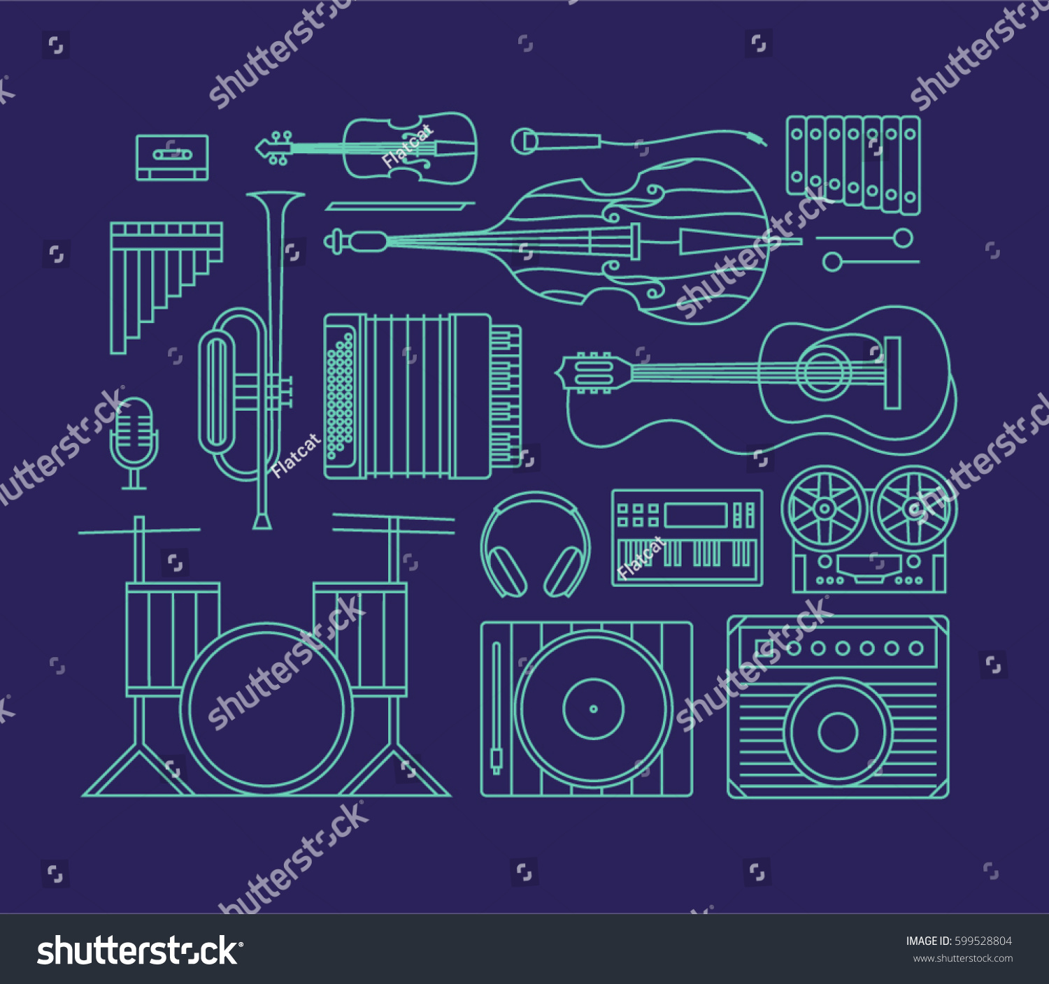Music Vector Outline Illustration Icon Set Stock Royalty Violin Bass Guitar Wiring Diagram Art Background Audio Cassette