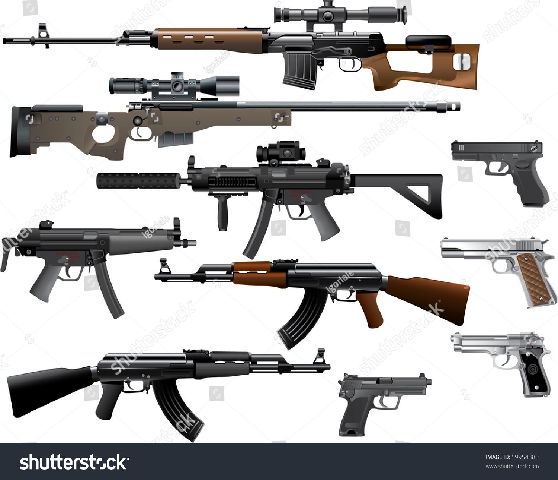 weapon collection stock vector 59954380 shutterstock AR-15 Assault Rifle Vector Assault Rifle Halo