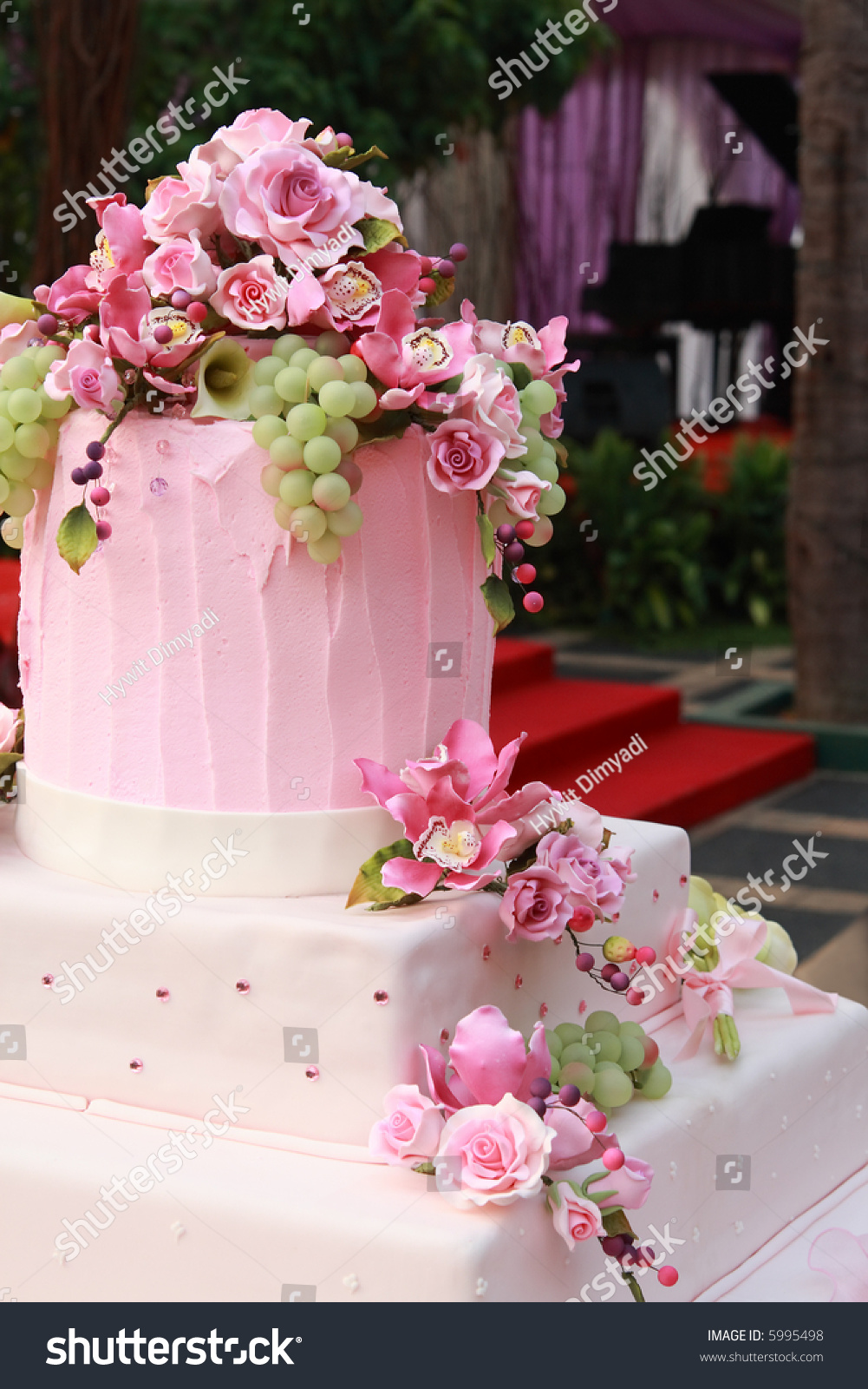 Pink Wedding Cake Decorated Flowers Grapes Stock Photo (Royalty Free ...