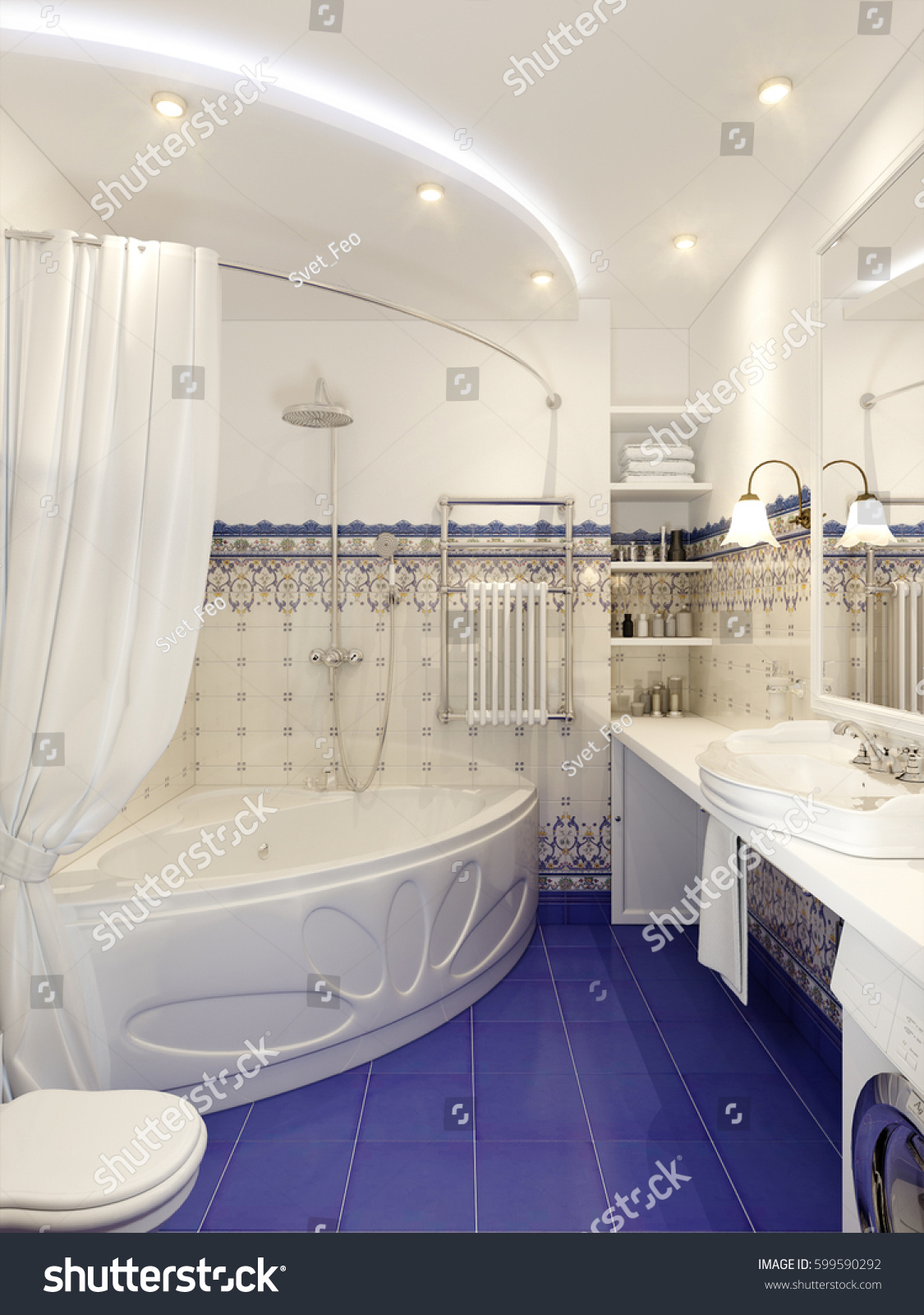 Classic Bathroom Interior Design Eastern Moroccan Stock Illustration ...