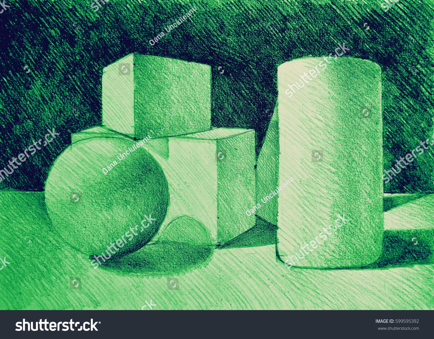 Still life drawing simple geometric volumes stock illustration