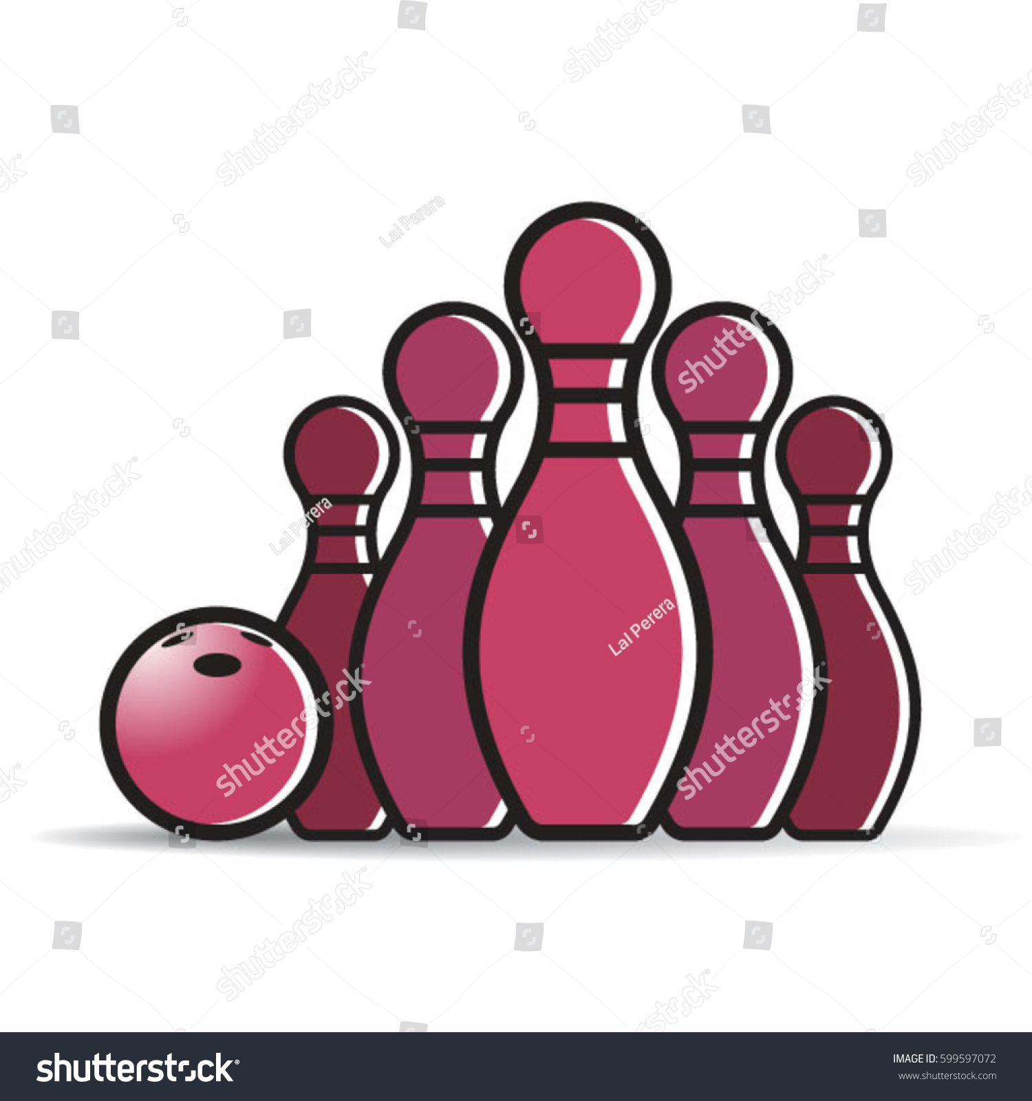 bowling set with bowling ball in color vector drawing - Bowling Pictures To Color