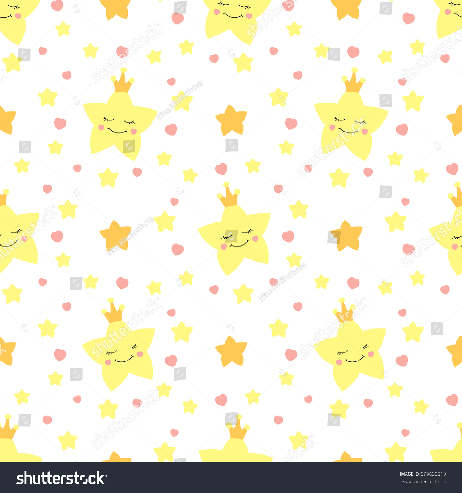 Cute Baby Star Pattern Vector Seamless Stock Vector