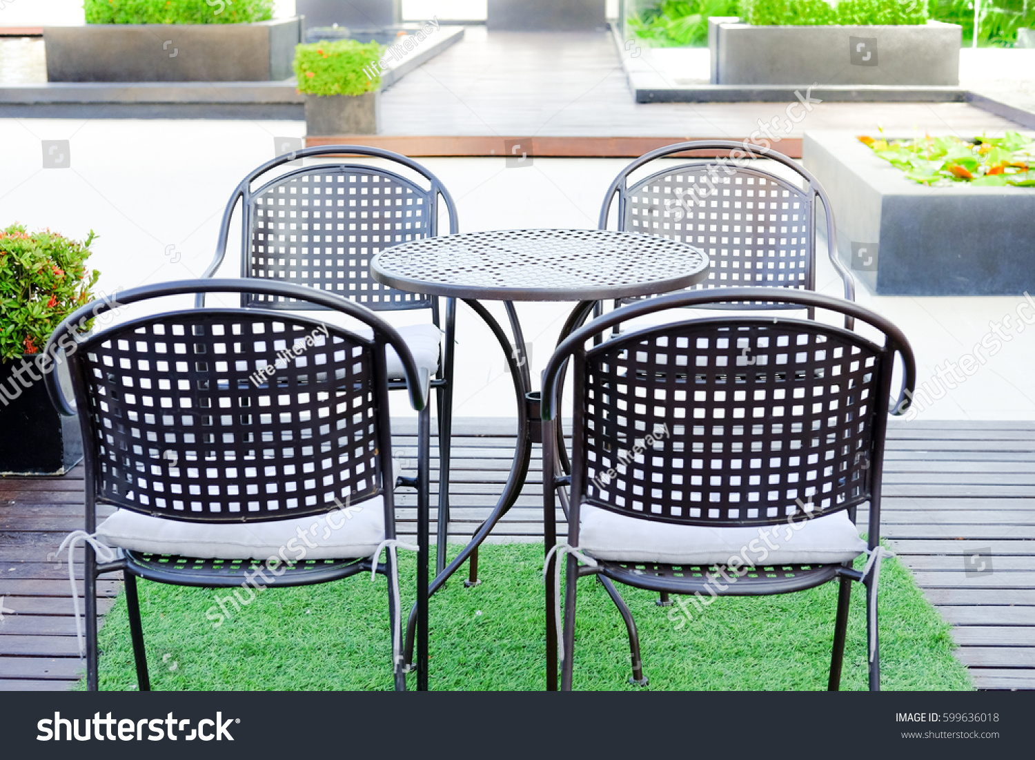 Black Chairs Desk Outdoor Garden Stock Photo 599636018. Slim Table. Tall White Table Lamps. Average Coffee Table Height. Outdoor Side Tables. Auto Desk 360. Fabric Coffee Table. Banquet Table Skirts. Desks For Office