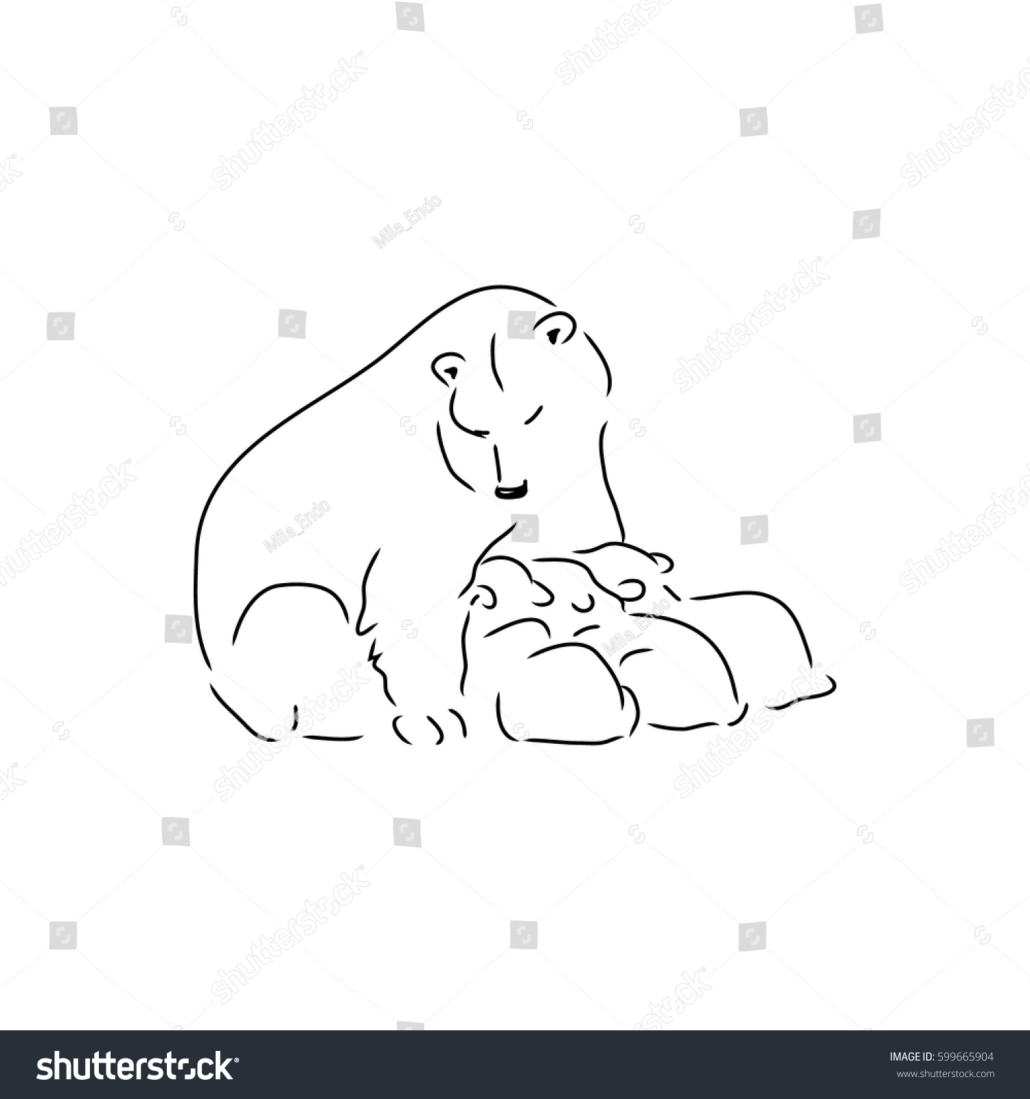 Drawing Lines With Polar Tracking : Polar bear her cubs feeding stock vector