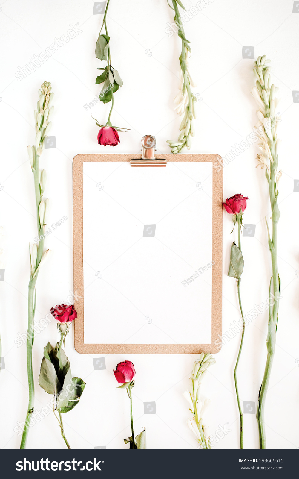 Red Roses White Flowers Frame Clipboard Stock Photo Royalty Free