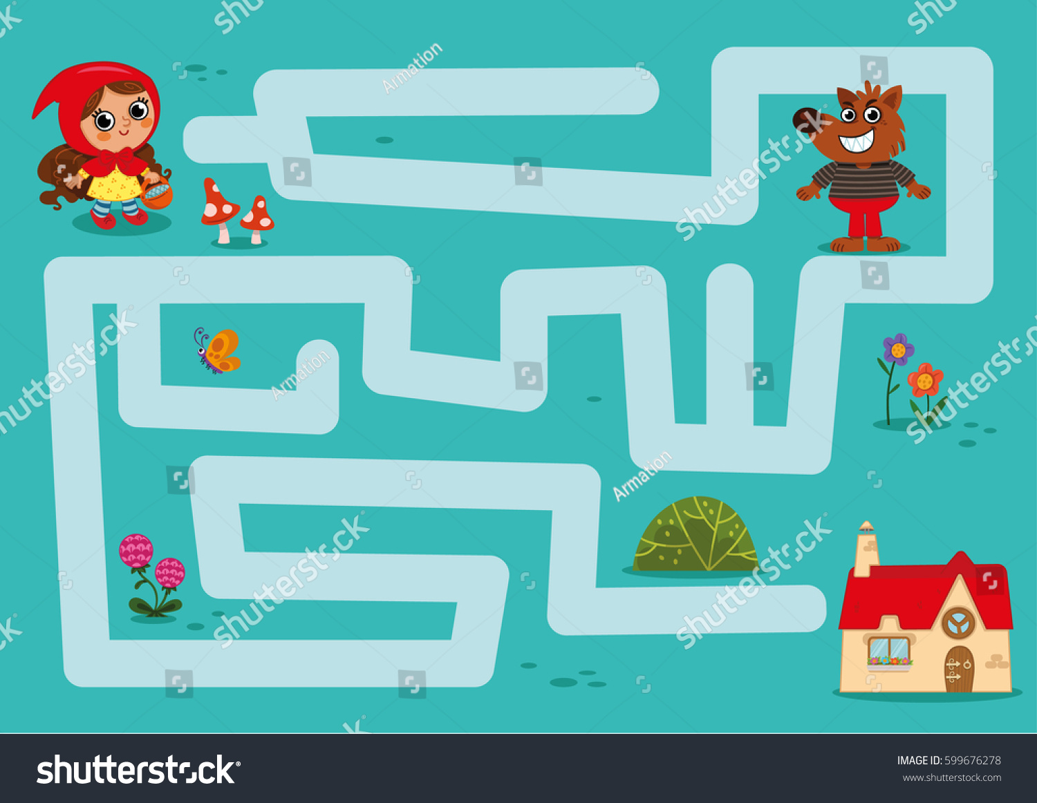 Maze game little red riding hood stock vector 599676278 shutterstock little red riding hood find her grandmother house buycottarizona