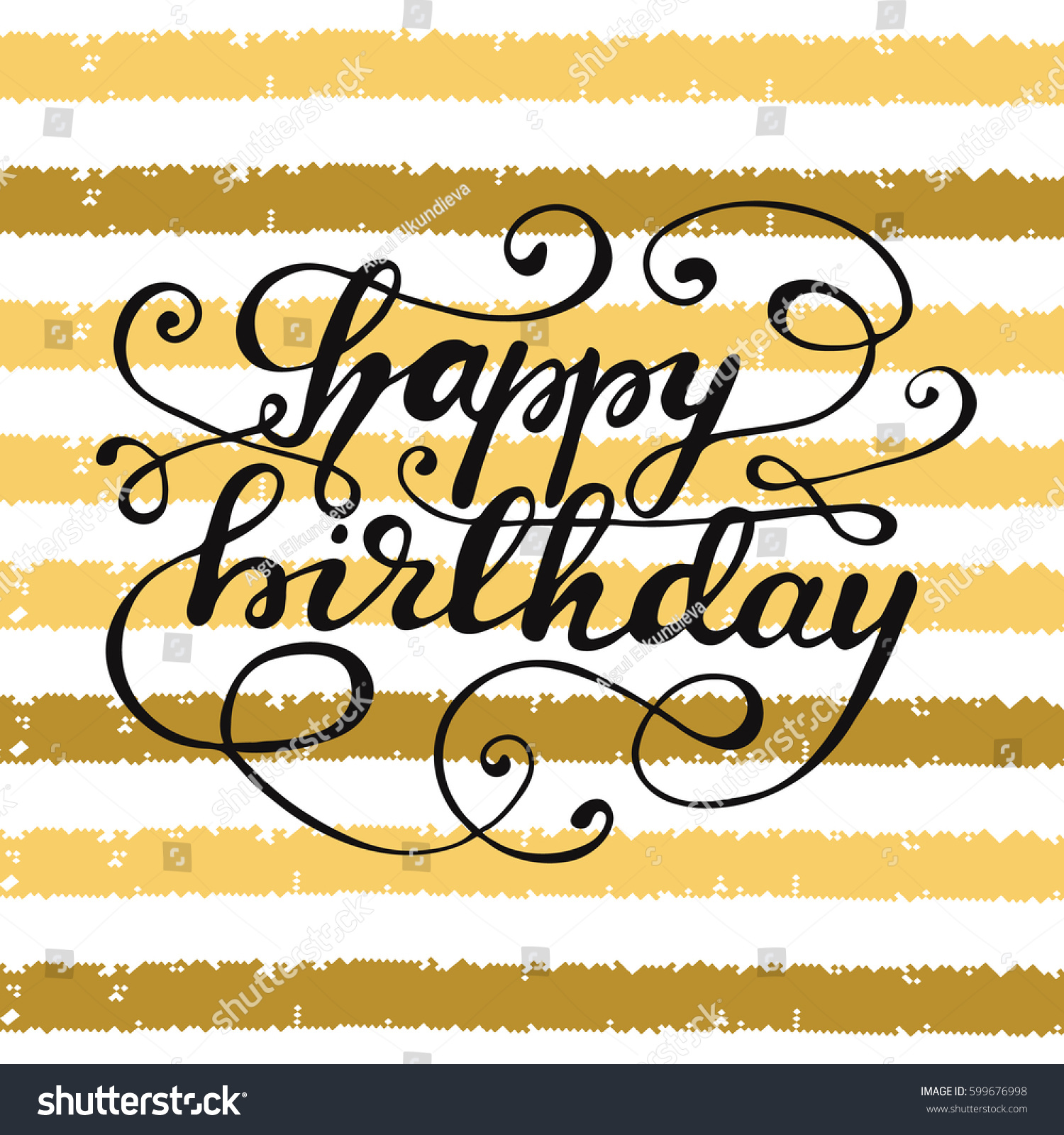 Birthday greeting card design hand drawn stock vector 599676998 birthday greeting card design with hand drawn lettering happy birthday and flourishes vector kristyandbryce Images