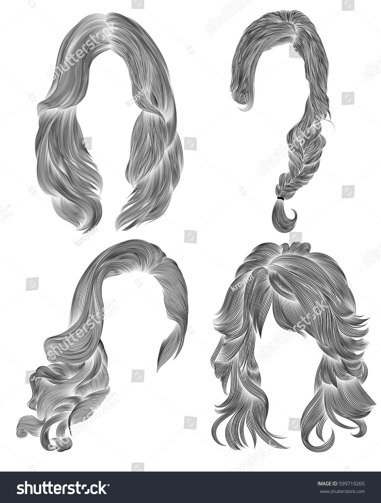 Set long woman hairs black pencil drawing sketch women fashion beauty style fringe