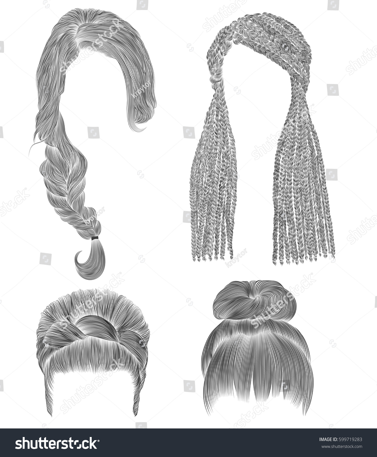 Set woman hairs black pencil drawing sketch bun babette with fringe hairstyle women